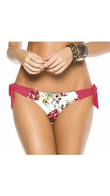Latiinolõikega püksid - punase-valgekirju lillemustriga